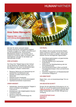 Area Sales Manager 2016
