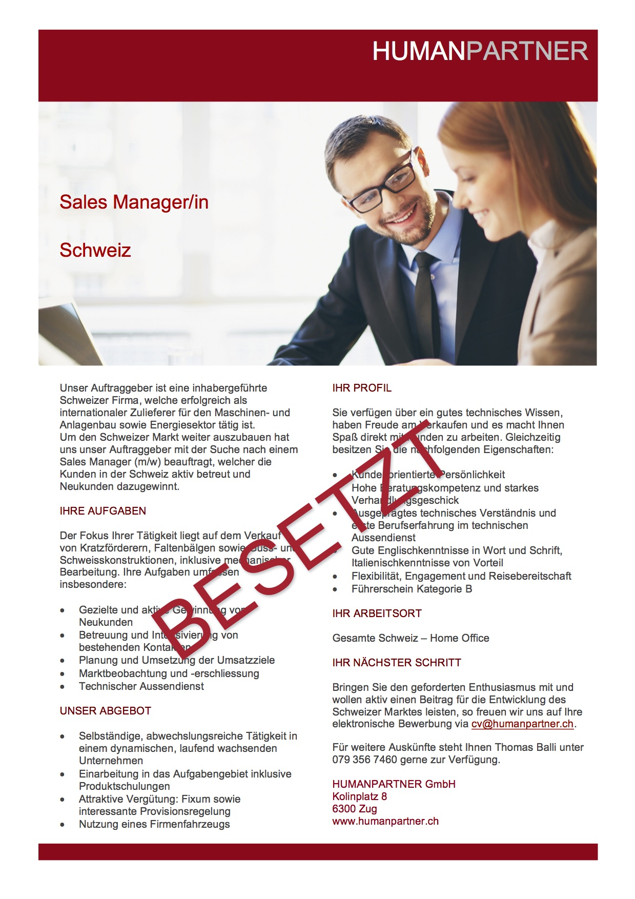 Area Sales Manager Schweiz