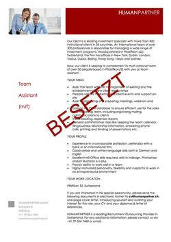 Inserat Team Assistant