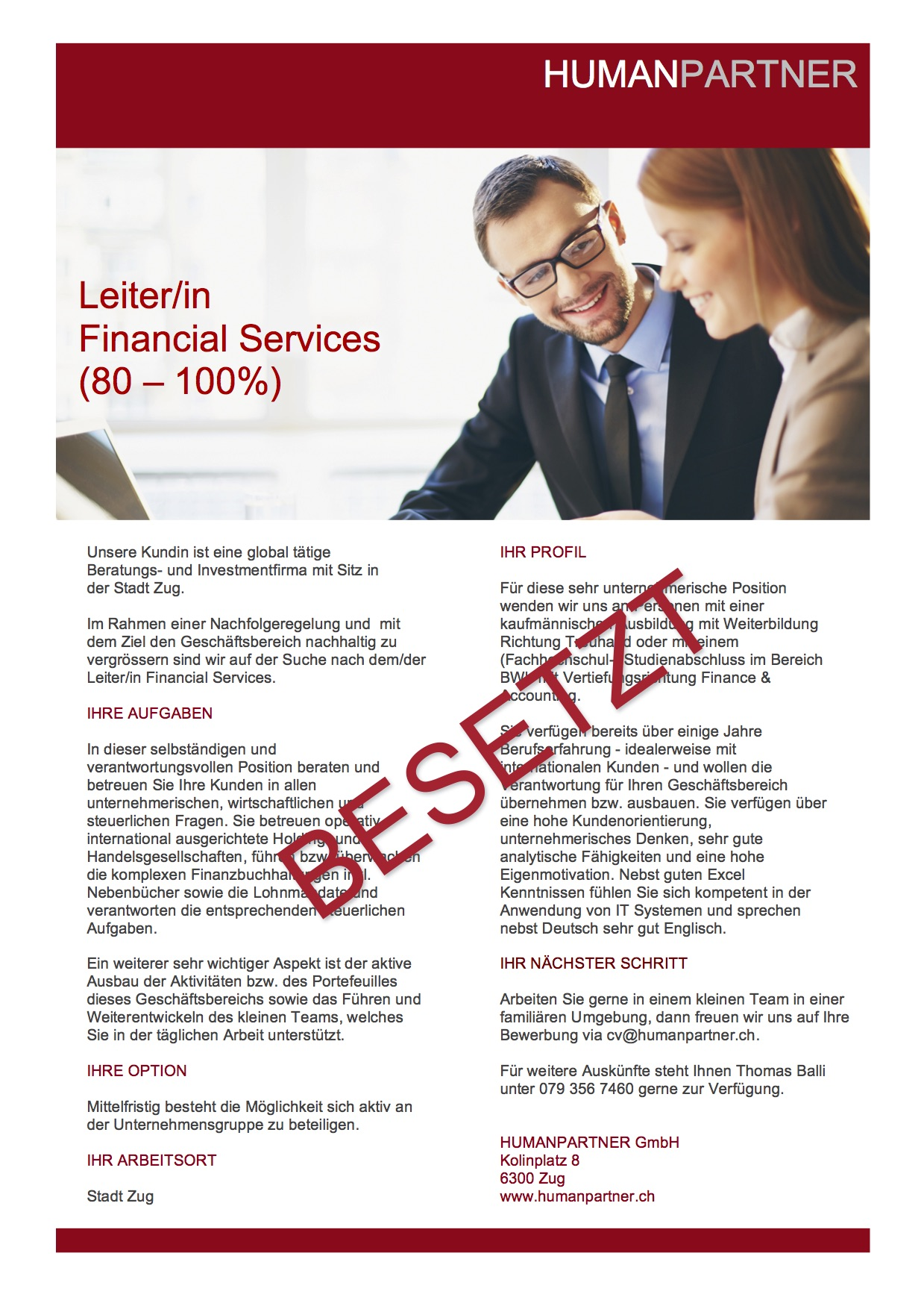 2016 Inserat Financial Services