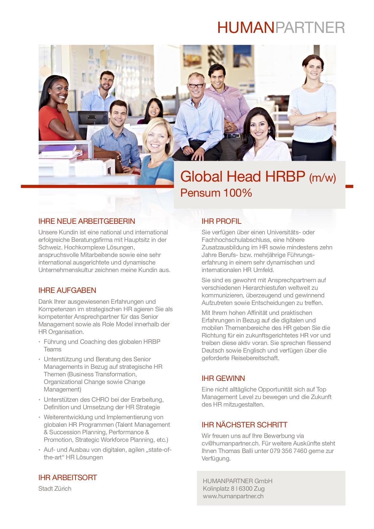 Global Head HRBP - 2018