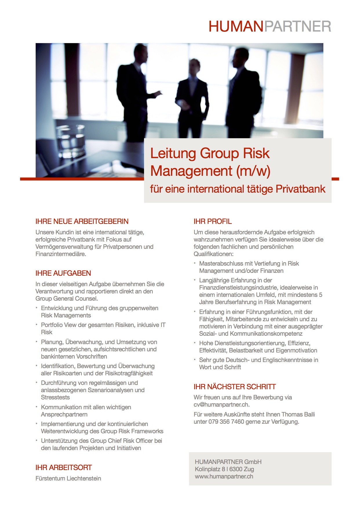Leitung Group Risk Management - 2018