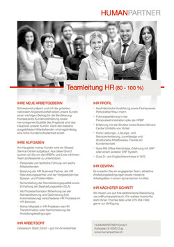 Teamleitung HR Services - 2019