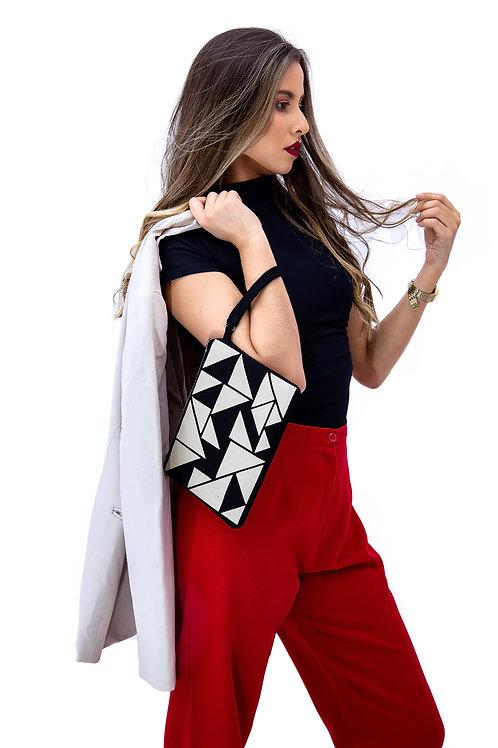 bolsa de mão triângulos preto