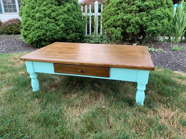 Refurbished Aqua + Walnut Farmhouse Table