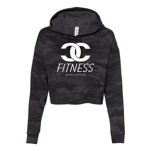 The classic CC Logo Crop Hoodie in Army Black