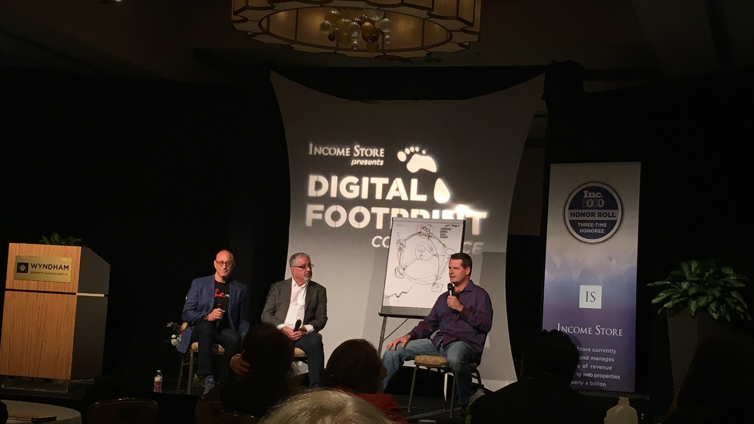 Ken Courtright, co-founder of Income Store, Berny Dohrmann, co-founder of CEO Space, and Adam Markel, author of Pivot, at Digital Footprint Conference