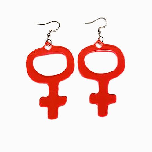 Örhängen – rosa Feministsymbol