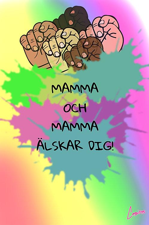 Barnaffisch – Mamma och Mamma älskar dig!