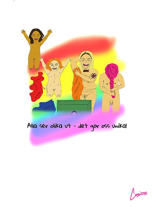Astrid & Helmer-poster – Vi är unika