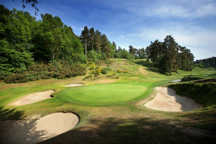 The 6th green at Hindhead Golf Club, member of the Southern Counties Heathland G