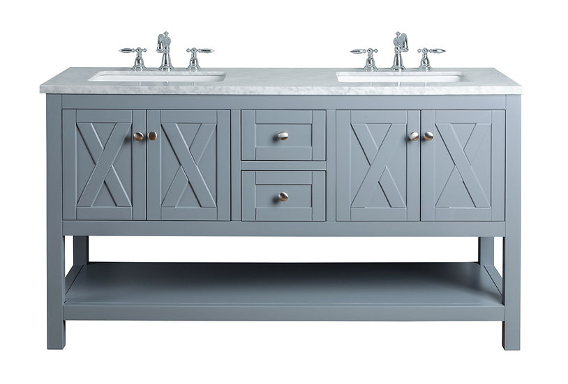 "Anabelle 60"" Grey Double Sink Vanity"