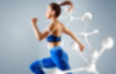 Sporty young woman runing and jumping ne