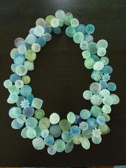 Blue green bubble necklace