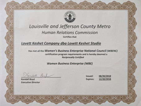 Lovett Keshet Studio receives reciprocal WBE certification for Louisville and Jefferson County