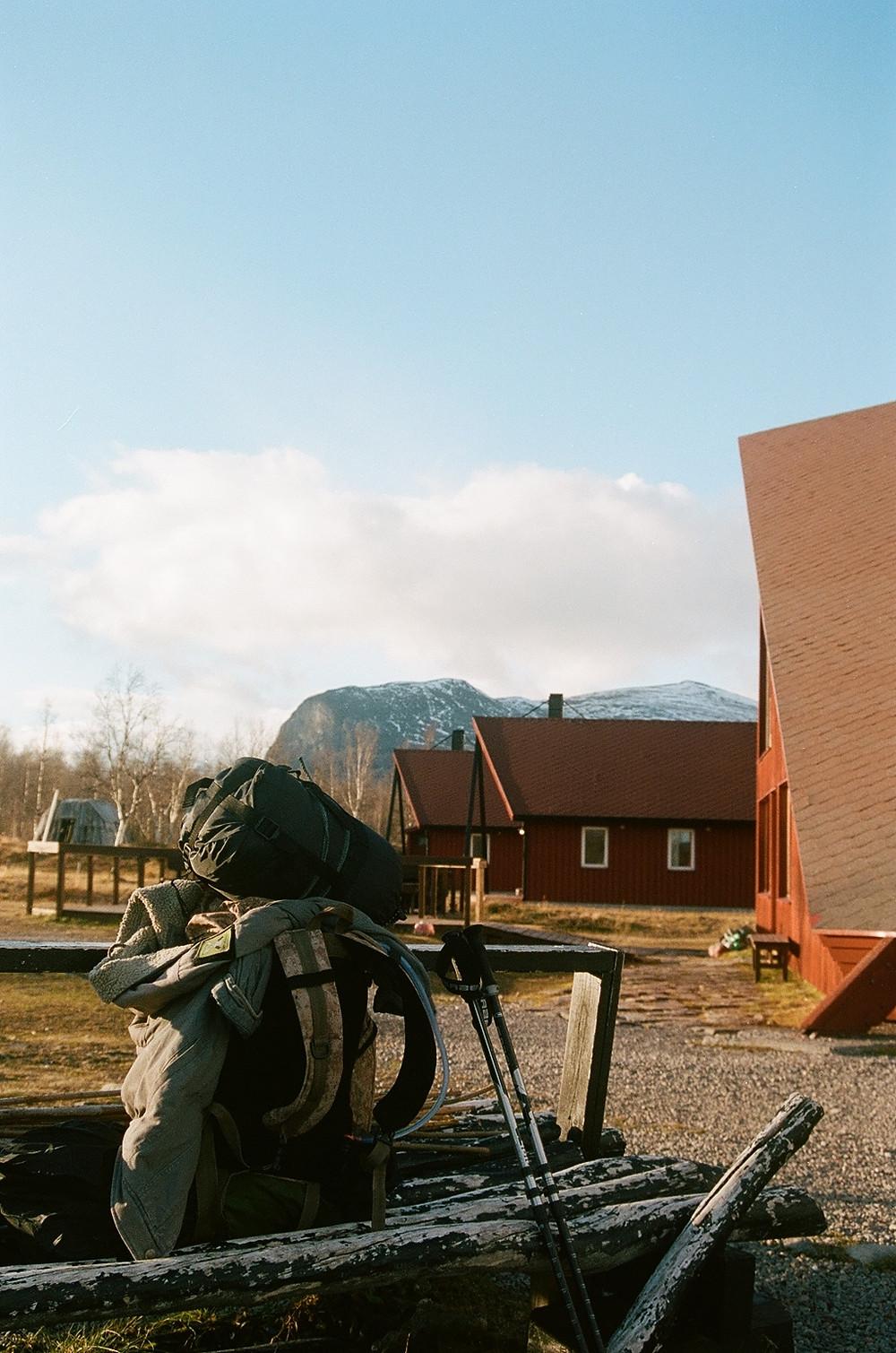 In Nikkaluokta, looking back. Shot on Kodak Portra 400.