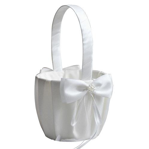 FLOWER GIRL BASKET - WHITE