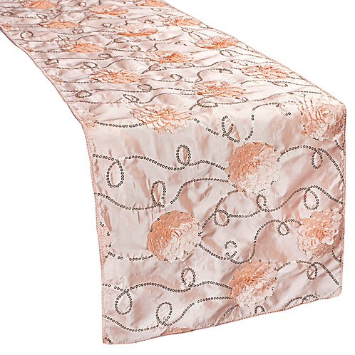 Flower On Sequin Taffeta Table Runner