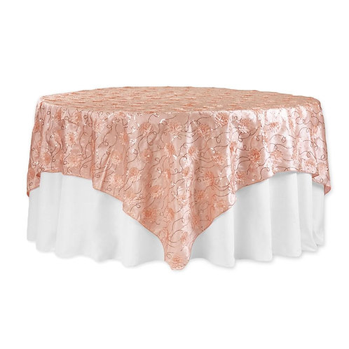 "Flower on Sequin Taffeta Table Overlay 90""x90"" - Blush/Rose Gold"