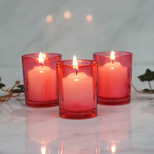 12 Pack Red Glass Votive Candle Holder Set