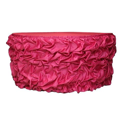 Gathered Lamour Satin Table Skirt - 17ft