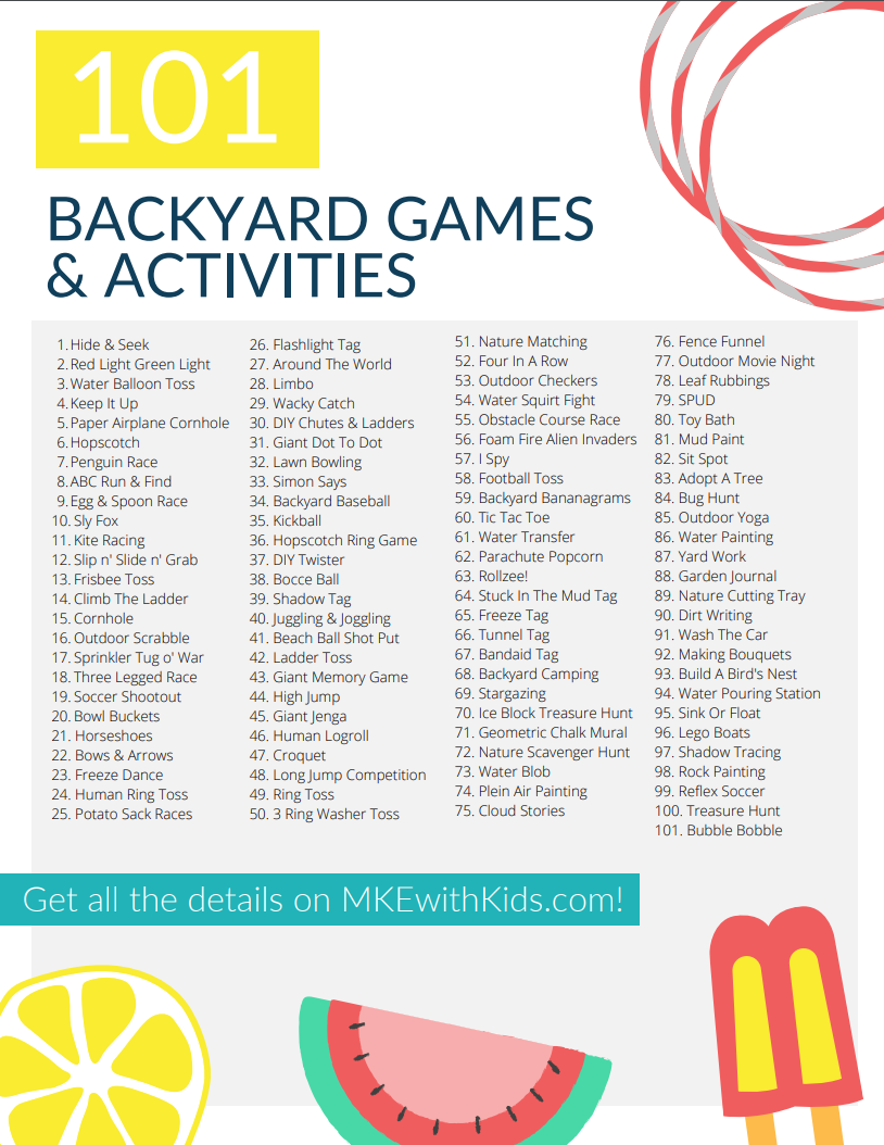 101 Backyard Games & Activities For Kids