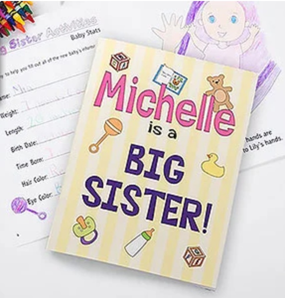 Big Sister Personalized Coloring Activity Book >>