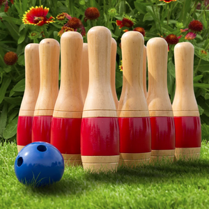 Hey! Play! 11 Inch Wooden Lawn Bowling Set - Red  on Overstock.com