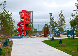 Harbor View Plaza has a tall play structure with a great view of the Milwaukee River.