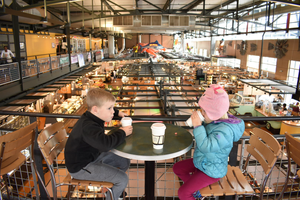 Grab a hot cocoa or lunch at the airy Milwaukee Public Market.