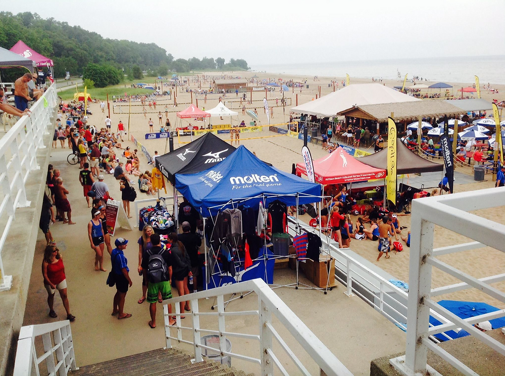 Bradford Beach is known for its festive atmosphere and volleyball tournaments.