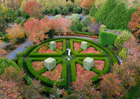 Bride and Groom autumn country garden maze wedding photography at Aston Norwood Kaitoke in Wellington, New Zealand