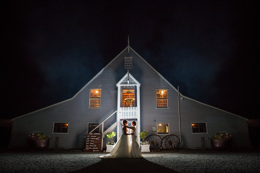night time wedding photo of gay wedding at Tarureka Estate in Wellington, New Zealand