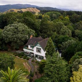 Drone wedding photography at Tatum Park in Wellington, New Zealand