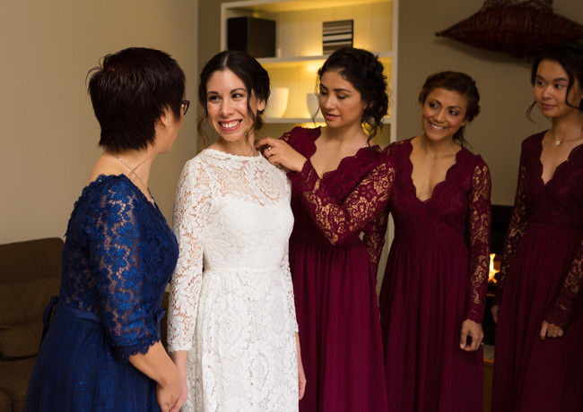 editorial bride and bridesmaids wedding photo at Peppers Parehua in Wellington, New Zealand