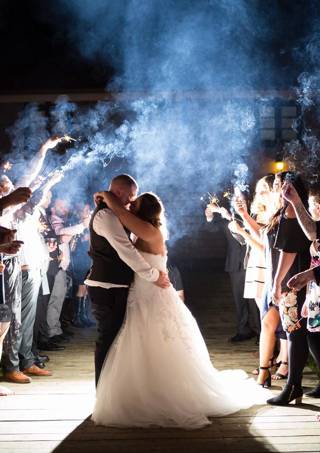 bride and groom sparkler exit wedding photo at Silverstream Retreat Wellington Wedding