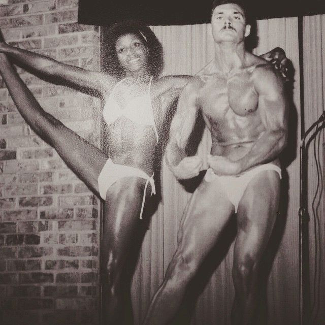 Picture of my uncle Steve and aunt Kathy at one of the many bodybuilding competitions they competed in.