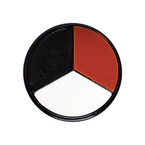 Tri-Color Clown Face Paint Kit (Red, White, Blk)