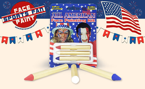 3-color All American Face Paint Kit