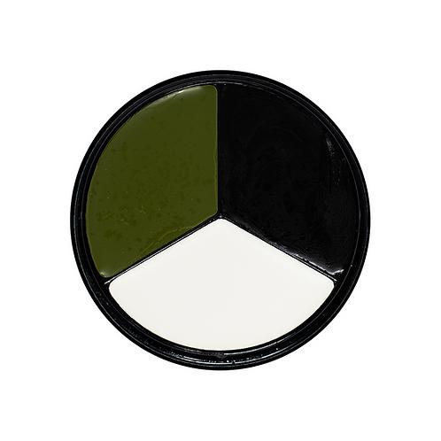 Tri-Color Face Paint Kit (Green, White, Blk)