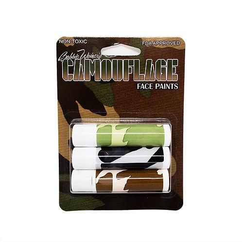 3 Woodland Camouflage Sticks on Blister Card