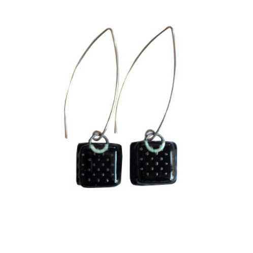 fused glass earrings in obsidian