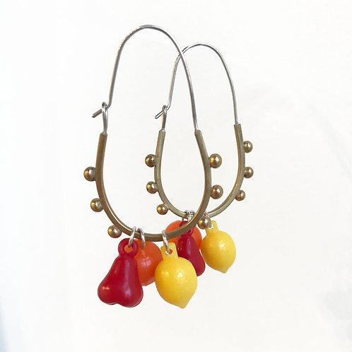 red pear fruity dangler earrings in brass