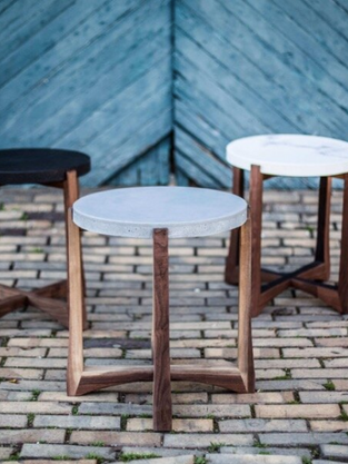Concrete + Carved Wood End Tables