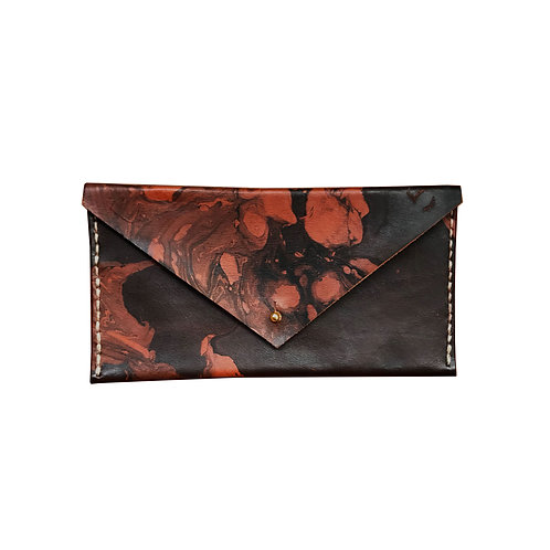 marbled leather clutch/wallet
