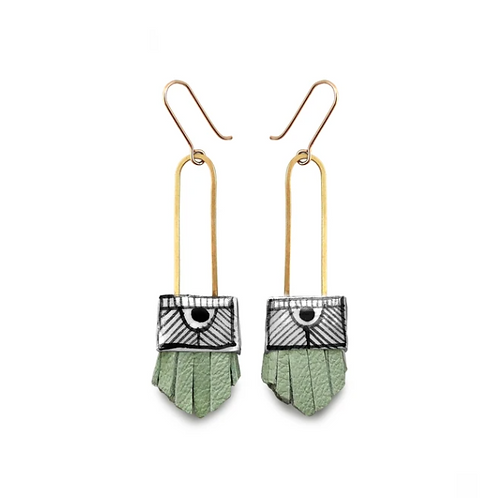 short regalo earrings: Mint