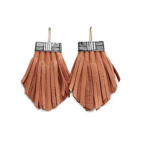 melon tassel cage earrings