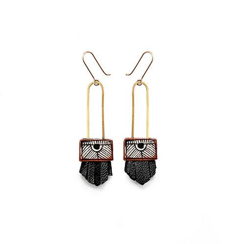 regalo shortie earrings - black