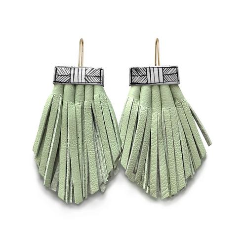 mint tassel cage earrings