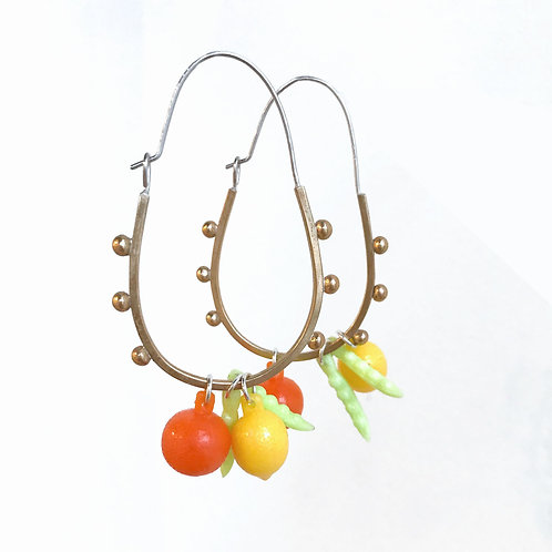 Fruity Dangler earrings in Brass